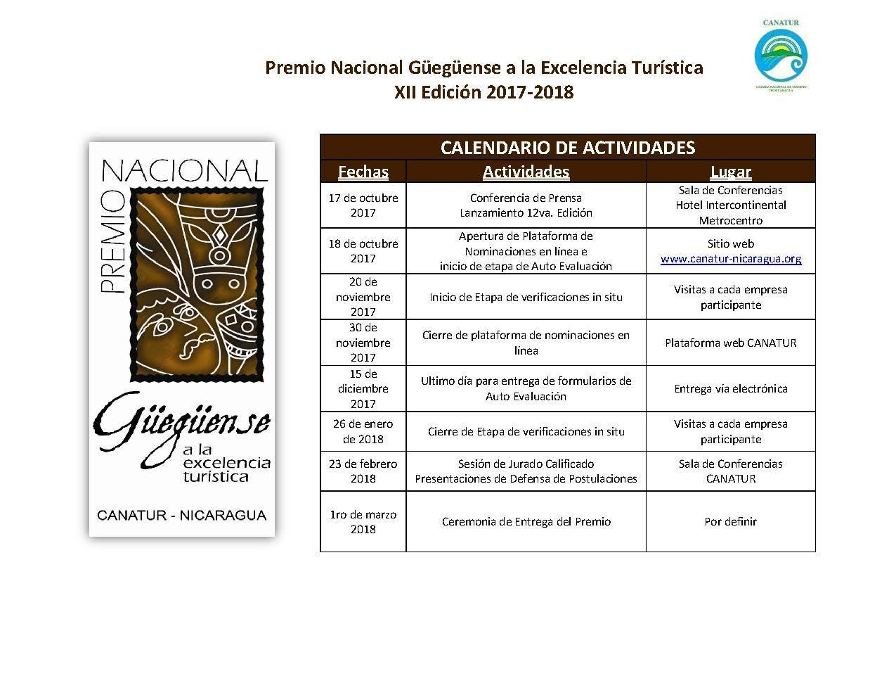 Calendario Actividades_12va Edicion PNGET