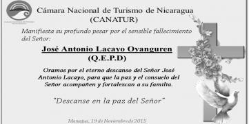CANATUR lamenta fallecimiento del Ingeniero Antonio Lacayo